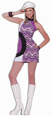 Zig Zag Dress 60' Mod Retro Go-Go Dancer Fancy Dress Up Halloween Adult - Go Dancer Halloween Costumes