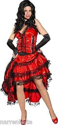 Saloonlady Cow Girl Kostüm Kleid Cowgirl Saloon Lady Saloongirl Saloongirlkostüm (Rot Saloon Girl Kostüme)