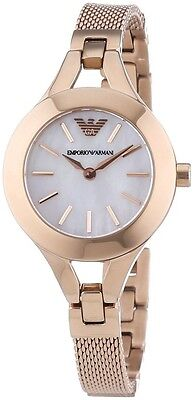 NEW EMPORIO ARMANI ROSE GOLD STAINLESS STEEL MOTHER OF PEARL LADIES WATCH AR7329