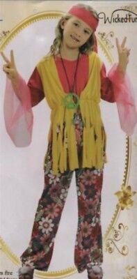 Girls New 60s 70s Rock Hippie Fancy Dress Up Costume Flower Power Book Week