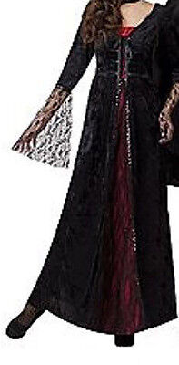 Women's Countess Halloween Costume One Size Fits Most Vampire Black & Red Dress  - Mostly Black Halloween Costume