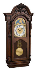 Bulova Tamlen Hardwood Cherry Finish Chime Pendulum Wall Clock C1515