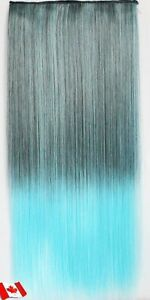 """Clip in hair extension,Straight hair,60 cm, 24"""",LIGHT BLUE Yellowknife Northwest Territories image 3"""