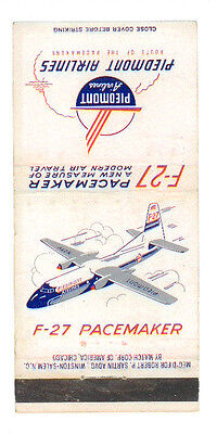 PIEDMONT AIRLINES F-27 PACEMAKER MATCHBOX LABEL ANNI  '50 AIRWAYS AIRLINES
