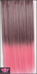 """Clip in hair extension,Straight hair,60 cm,24"""",BROWN PINK OMBRE Yellowknife Northwest Territories image 2"""