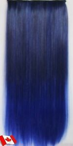 "Clip in hair extension, Straight hair,60 cm, 24"",DARK BLUE OMBRE Regina Regina Area image 2"