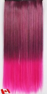 """Clip in hair extension,Straight hair,24"""",60 cm, FUSCHIA OMBRE Yellowknife Northwest Territories image 2"""