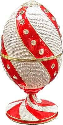 Faberge Russian Style Egg Jewelry Box w/Twisted Pattern & Crystals -