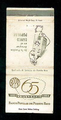 BANCO POPULAR DE PUERTO RICO 65 ANIVERSARIO 1893 1958 MATCHBOX LABEL AMERICA