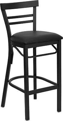 Lot Of 6 Black Ladder Back Metal Restaurant Bar Stool - Black Vinyl Seat