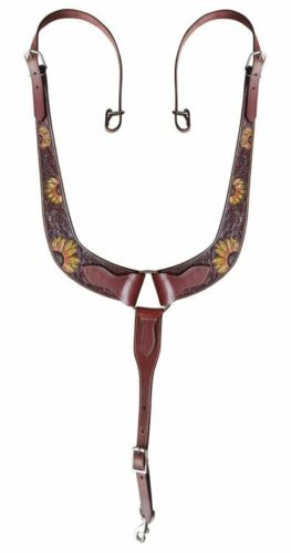 Showman Painted Sunflower Leather Pulling Collar