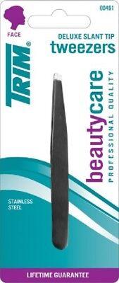 NEW Trim Beauty Care Deluxe Slant Tip Tweezers, Black 00491 Stainless Steel WO35