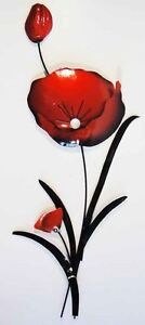 NEW Contemporary Metal Wall Art Sculpture - Red Poppy Flower Bunch