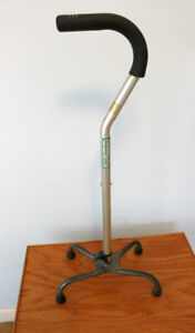 Adjustable Quad Cane for Right or Left Hand Use, Silver, Small B