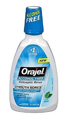 Orajel Alcohol Free Antiseptic Mouth Sore Rinse, 16 oz. (2 Pack) Mouth Sore Rinse