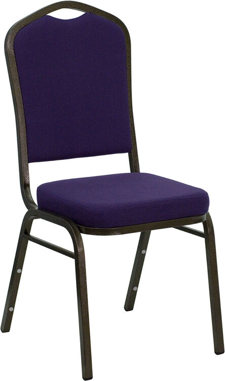 Purple Fabric Crown Back Steel Frame Banquet Stack Chair