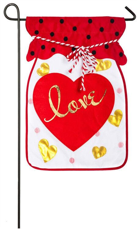 Jar Of Love garden flag 168617BL Evergreen Valentines Day fl