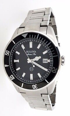 NEW BULOVA MARINE STAR BLACK DIAL DATE STAINLESS STEEL MODEL 98B203 MSRP $350