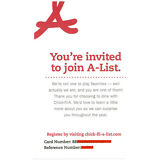 Chick-Fil-A VIP A-List Membership Invite Card! Free Fast Food Coupons And Gifts!