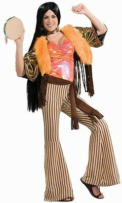 60's Babe Cher Hippie Singer Mod Retro Fancy Dress Up Halloween Adult Costume - Hippie Babe