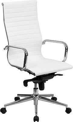 Lot Of 8 White Leather High Back Conference Room Table Chairs Polished Base New