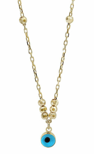 10K YELLOW GOLD EVIL EYE NECKLACE