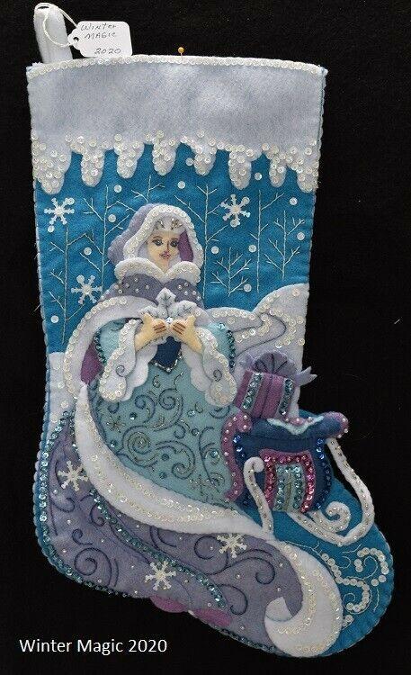 "NEW Handmade 18"" Bucilla Winter Magic Felt Stocking"