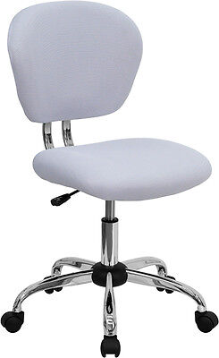 Mid Back Office Desk Chair White Mesh Upholstery With Chrome Accents