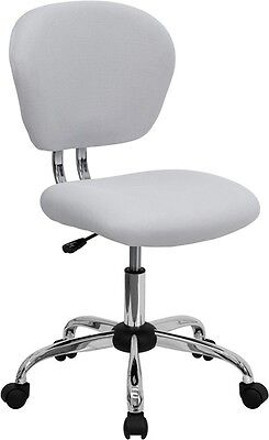 Mid Back Office Chair White Mesh Upholstery With Chrome Accents - Desk Chair