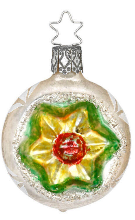 Inge Glas Reflector Ball Floral Red 20394T105a German Glass Christmas Ornament