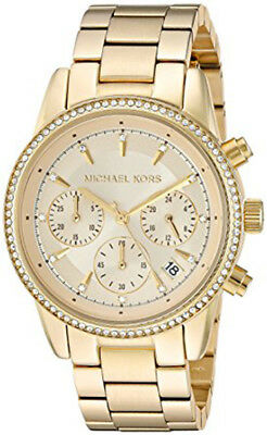 Michael Kors Women's Ritz Chrono 50m Gold Plated Stainless Steel Watch MK6356