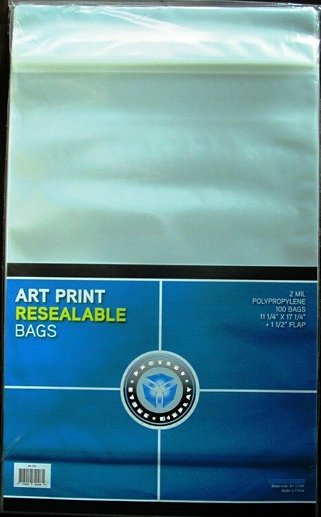 """(1) 100ct Package CSP Resealable Art Print 11.25x17.25"""" Bag Photo Sleeves-New!"""