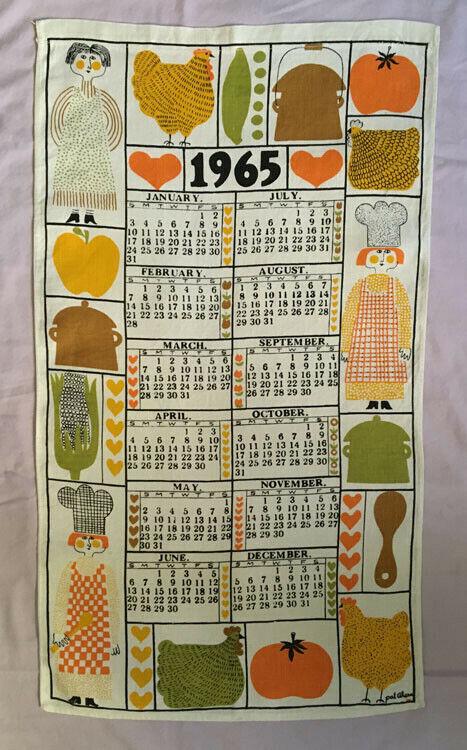 1965 Linen Calendar Towel Artist Pat Ahern Chefs Chickens Utensils Very Retro