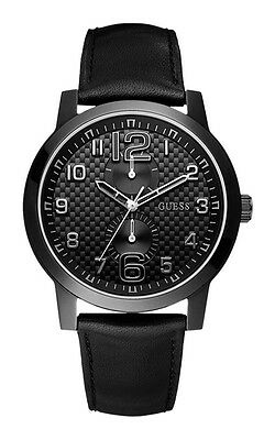 Guess W95111G1 Lights Out Men's Watch Leather Band Black