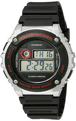 Casio Men's Illuminator Quartz Gray Resin Black Strap Watch W-216H-1CVCF
