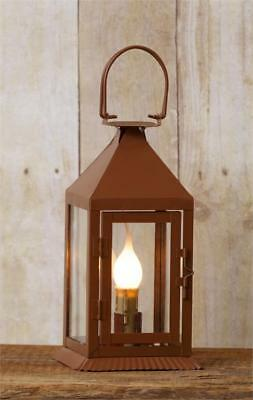 New Primitive Antique Style Rusty Metal Electric Candle Lantern Lamp Light