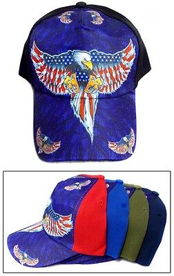 USA Baseball Caps  Hats - Eagle & US Flag Screen Printed  (CapUS103 ^*) ()