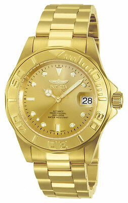 Invicta Men's Pro Diver Analog Automatic Gold Dial Stainless Steel Watch 13929