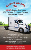 Company drivers required to run Single or Team -  Canada / USA
