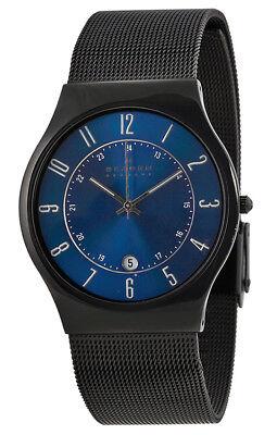 Skagen Mens Titanium Watch - Skagen Men's Analog Quartz Black Titanium Mesh Watch 233XLTMN