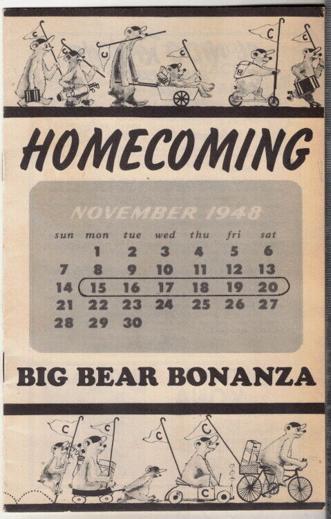 Rare original 1948 homecoming big bear bonanza program cal berkeley