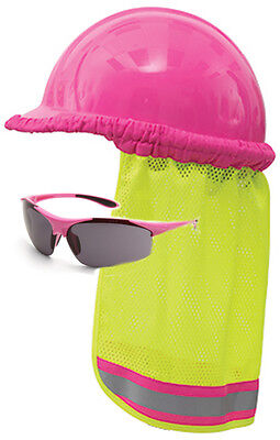 Professional Grade Hot Pink Hard Hat Limepink Neck Shield Safety Sunglasses