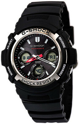 Casio G-Shock Analog-Digital Tough Solar Atomic 200m Black Resin Watch AWGM100-1