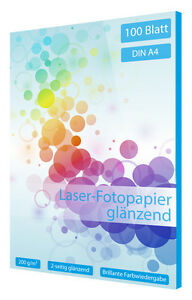 100 Blatt Fotopapier für Laser Drucker DIN A4 200g glossy 2-seitig beschichtet