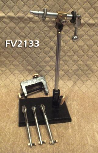 Supreme Chrome Rotating Fly Tying Vise Combo w/ Pedetal & Clamp Base - FV2133
