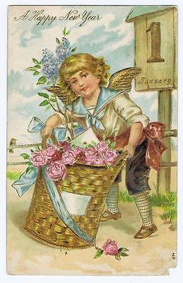 A Happy New Years  Cherub With Basket Of Roses  1