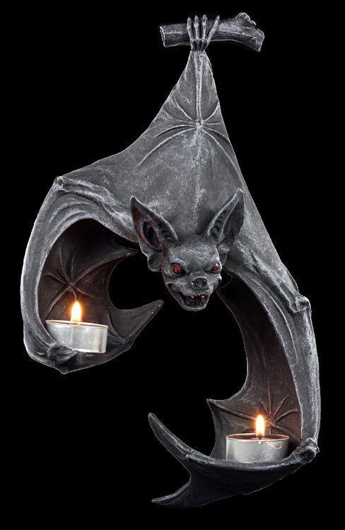 Fledermaus Wand-Teelichthalter - Fantasy Gothic Wanddeko Kerzenhalter
