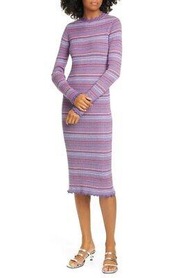 NWT $390 STINE GOYA Size L Tinita Stripe Knit Sweater Dress Blue Orange