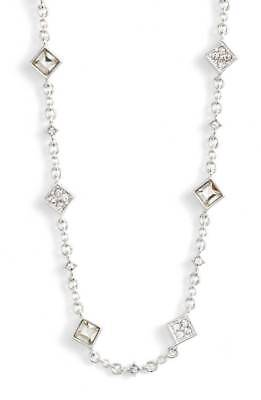 $78 Ralph Lauren Silver Tone Square Crystal Necklace  NEW
