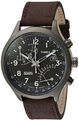 Timex Men's Intelligent Fly Back Chrono Brown Leather Strap Watch TWH3Z6110